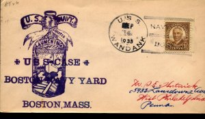 USS WANDANK AT-26 US 1935 Cachet Naval Cover WITH Boston Navy Yard Cancel F