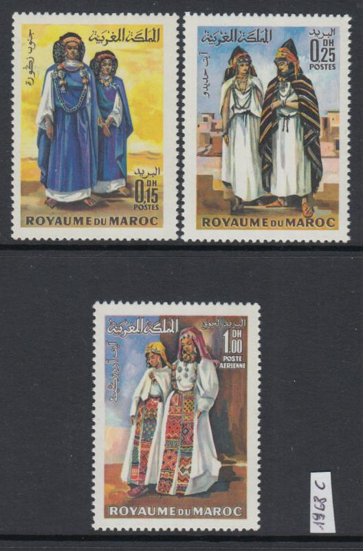 XG-Y423 MOROCCO IND - Costumes, 1968 Men And Women Traditional Clothing MNH Set