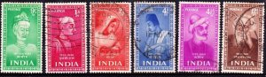 INDIA 1952 Indian Saints & Poets Set 9p/1a/2a/4a/4.5a & 12a SG 337-342 FU