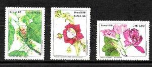 #1900 BRASIL BRAZIL1986 FLORA FLOWERS  YV 1804-6 MI 2185-7 MNH