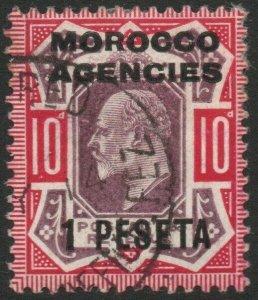 MOROCCO AGENCIES-1907-12 1p on 10d Slate-Purple & Carmine Sg 120a FU V47031