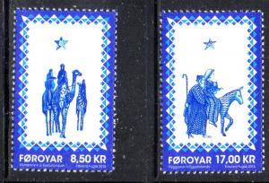 Faroe Islands Sc 651-2 2015 Christmas stamp set mint NH