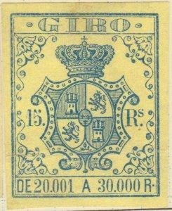 ESPAGNE / SPAIN / ESPAÑA 1861 Sello Fiscal (GIRO) 15 reales - Mint No Gum
