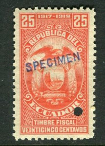ECUADOR; Early 1917 fine Fiscal issue Mint MNH unmounted SPECIMEN 25c.