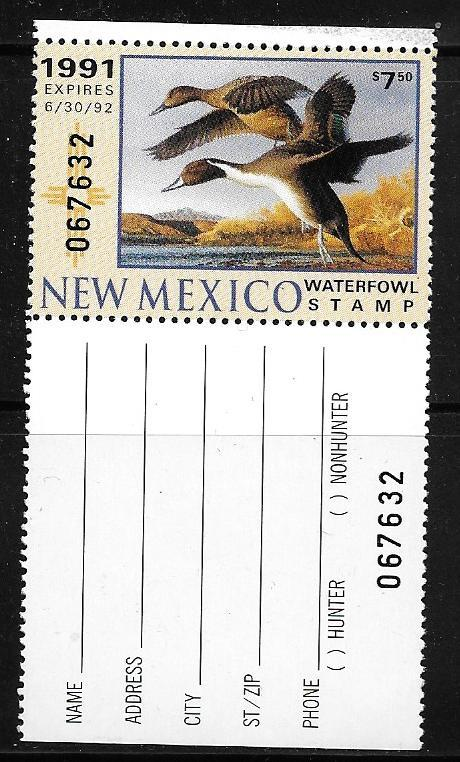 New Mexico Waterfowl Stamp, #1 M/N/H, W/tab 1991 Pintails  (CV is.$14.00