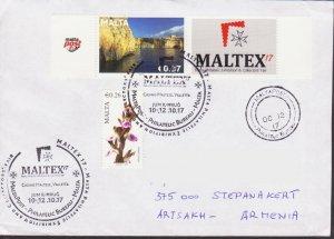 RARE MALTA FDC 2017 MALTEX 17 TO ARTSAKH KARABAKH ARMENIA R18417