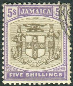 JAMAICA-1905 5/- Grey & Voilet.  A fine used example Sg 45