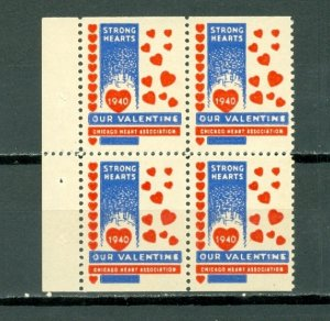 US VALENTINE DAY LABELS 1940 CHICAGO HEART ASS. ..NICE BLK...MNH