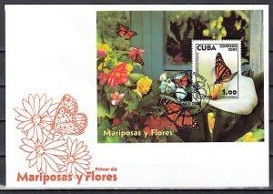 Cuba, Scott cat. 4337. Butterflies & Flowers s/sheet. First day covers. ^