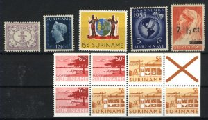 Surinam #44,221,253,4xC75,3xC82, +1   Mint VF  PD