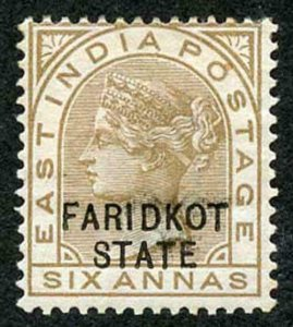 ICS FARIDKOT SGO11var 1887-98 6a bistre-brown shadow doubling of IDKOT and TE p