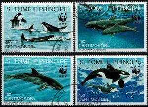 St Thomas & Prince Scott 1051-1054 (SW 1322-1325) Used/CTO (1992) Dolphin - K...