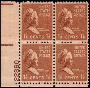 US #805 1 1/2¢ MARTHA WASHINGTON MNH LL PLATE BLOCK #22880 DURLAND $2.00