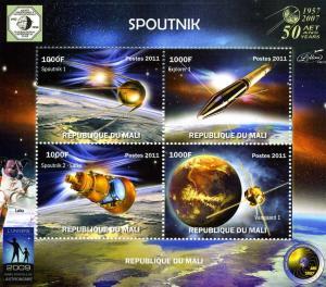 Mali 2011 SPACE Sputnik 1 Laika Dog in Space Sheet (4) Perforated Mint (NH)
