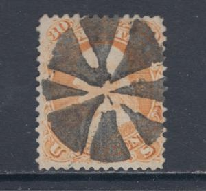 US Sc 100 used 1868 30c Franklin F-Grill, Circle of Wedges Fancy Cancel