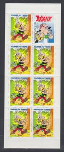 France Sc 2707b MNH. 1999 unfolded booklet, Pane of 7 + Tab, Asterix