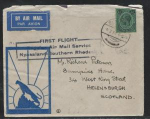 NYASALAND  (PP2708B) KGV 1/-  FIRST FLIGHT NY-SOUTH RHODESIA TO ENGLAND