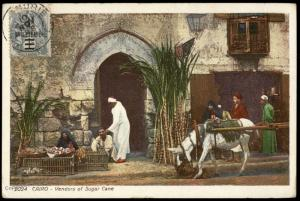 Egyptian PPC French Levant 1 Milleme Alexandria OP Stamp Sugar Cane Vendor 81224