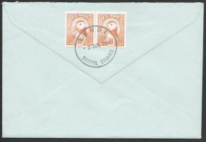 GB LUNDY 1986 pair 10p Puffins on cover....................................10663