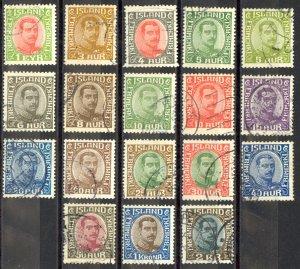 Iceland Sc# 108-127 (no 121, 123) Used 1920-1922 Christian X