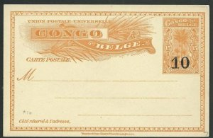 BELGIAN CONGO 10 on 15c postcard - fine unused.............................51222