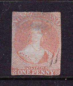 NEW ZEALAND FFQ 1d RED IMPERF NO WMK  SG 4 CHALON