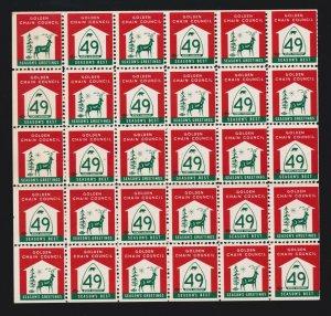 US Vintage California State Hwy 49 Seasons Greetings Cinderella Stamps Block 30