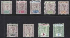 St Vincent 1898 SC 62-70 Mint Set