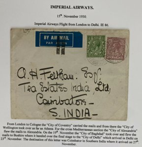 1930 England  Airmail Cover to Indian Imperial City Of Coventry Flying Boat