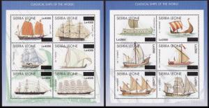Sierra Leone Classical Ships 2 Sheetlets overprinted RARR MI#5041-5052