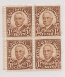 684 Harding MNH block of 4