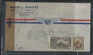 VENEZUELA  COVER (P2709B)   25C+40C CENSOR A/M COVER TO USA