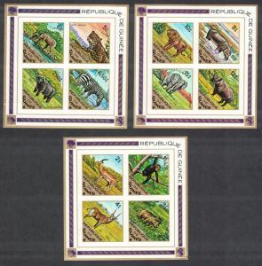 Guinea Elephant Leopard Zebra Monkey Hippo Lion Rhino Warthog Wild Animals 3 MSs