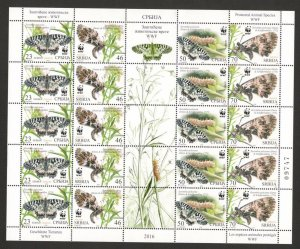 SERBIA-MNH SHEET-FAUNA, INSECTS-Butterflies-PROTECTED ANIMAL SPECIES , WWF-2016.