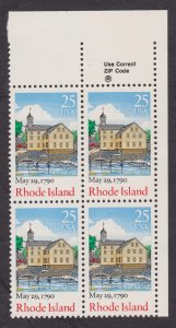 2348 Rhode Island Constitution Ratification MNH Zip Block of 4