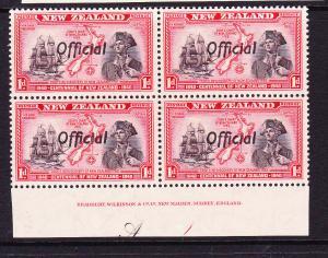 NEW ZEALAND  1940  1d  CENTENNIAL OFFICIAL  PLATE BLK 4 #A1  MNH