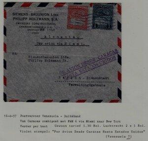 Venezuela/Germany airmail cover 16.4.37