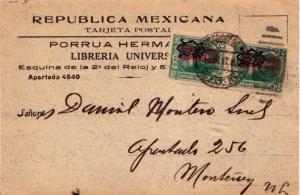 Mexico 2c Vicario Overprinted G.P. de M. (2) 1917 Correos Mexico D. F. Postca...