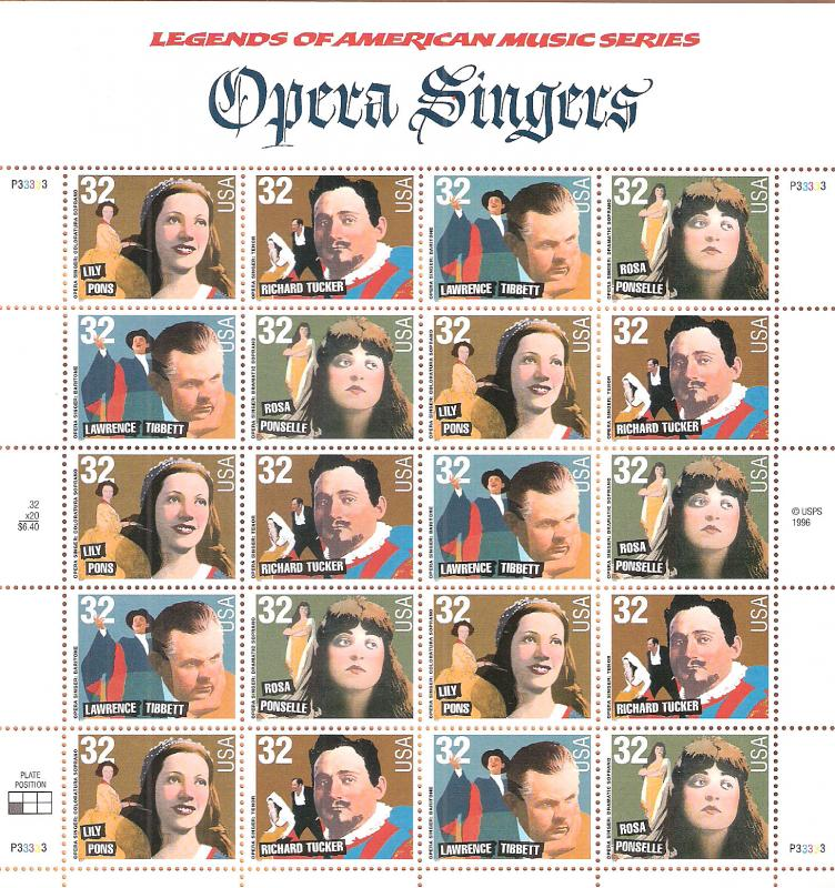 US unused Scott # 3154-3165 Opera Singers, Sheet of 20 CV 32.50