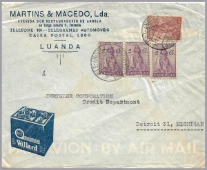Angola (Portugal) - 1948 CERES ADVERTISING Cover - Batteries - Airmail to USA