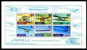 ANGUILLA - 1979 - AIRCRAFT - POWERED FLIGHT - ZEPPELIN - CENTENARY MNH S/SHEET!