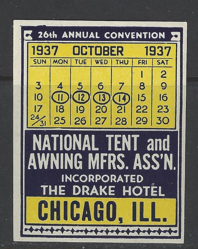 1937 Tent u0026 Awning Convention Chicago IL Promotional Poster St& (AW97) & 1937 Tent u0026 Awning Convention Chicago IL Promotional Poster ...