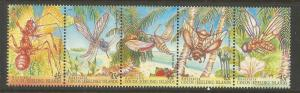 COCOS ISLANDS  302 A-E  MNH,  STRIP OF 5,  INSECTS