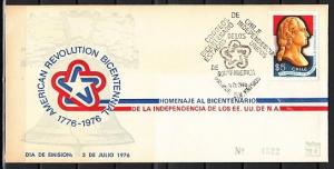 Chile, Scott cat. 492. American Bicentennial issue. First Day Cover.