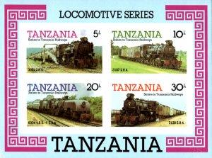 Tanzania IMPERF. 1985 Railways Trains Locomotive 4v Mint S/S. (#03)