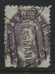Tasmania 1864 6d purple perf 12 1/2 used