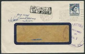 AUSTRALIA 1960 cover UNCLAIMED AT / SEYMOUR handstamp......................38872