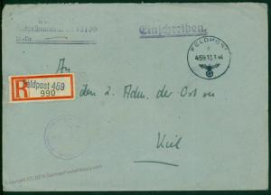 3rd Reich Navy Norway Destroyer Richard Beitzen Reg Feldpost Cover 46644