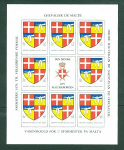 Denmark. Poster Stamp Sheet MH 1979. Danish Maltese,Souverain Order.Coats,Arms.