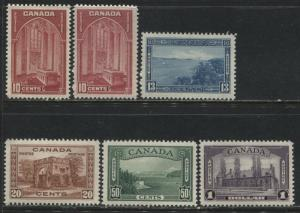 Canada KGVI 1937 definitives 10 cents to $1 unmounted mint NH